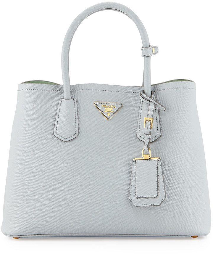Prada Saffiano Cuir Small Shoulder Bag Pale Gray Aqua Granito Acquamarina