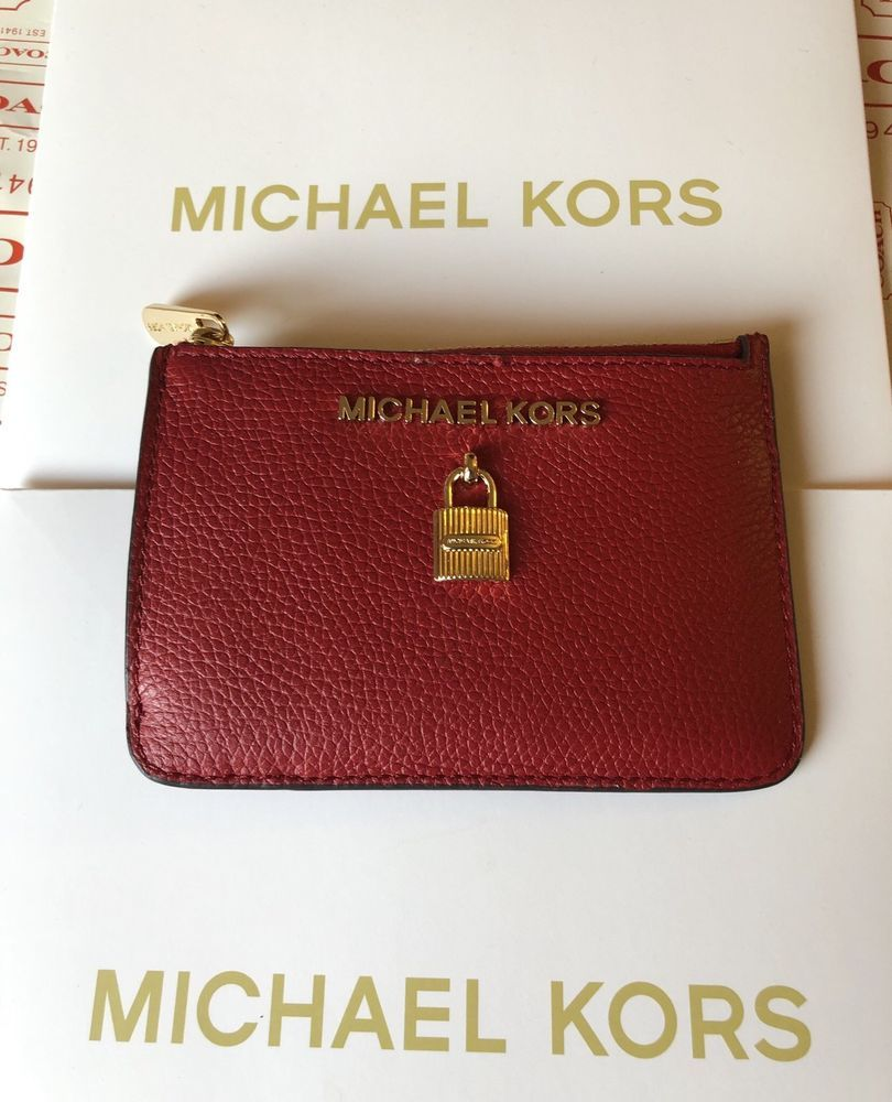 575027821064 NWT MICHAEL KORS ADELE COINPOUCH WITH ID KEY RING CARD HOLDER LEATHER  SCARLET  fashion