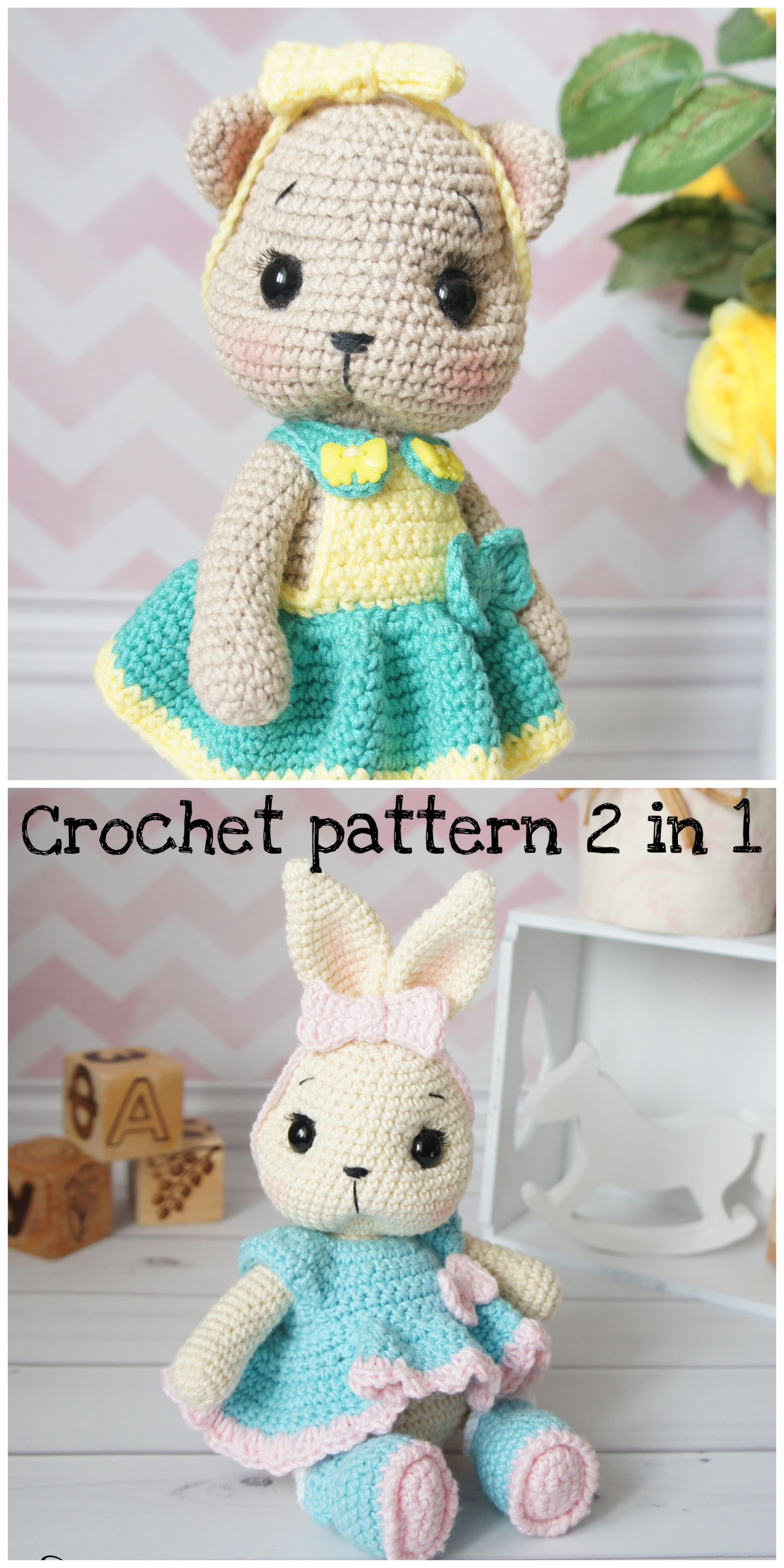 Crochet Pattern 2 In 1 Bunny Crochet Pattern And Kitten Etsy In 2020 Crochet Patterns Crochet Crochet Toys Patterns