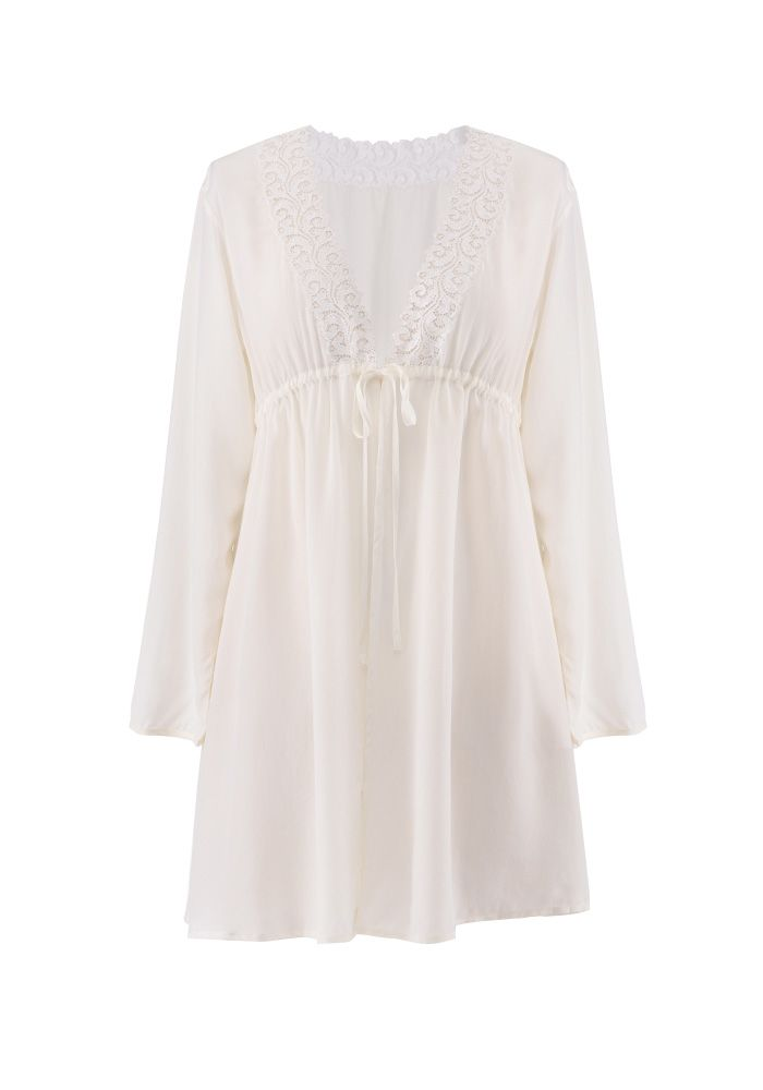 Silk women nightwear robes--m-white robes #Silk #robes   Revesilk.com