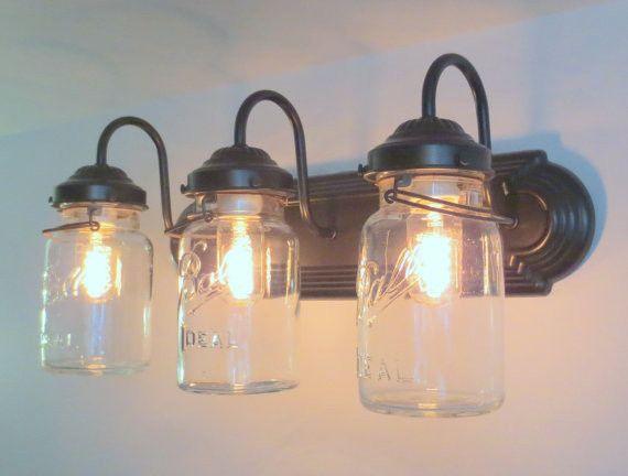 Mason Jar Bathroom Light Vintage Quart Trio  Mason Jar Bathroom Fair Vintage Bathroom Vanity Lights Inspiration
