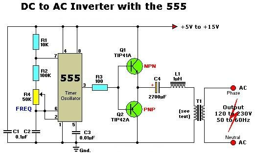 DC to AC Inverter with 555 | Knowledge | Electronics mini ... Dc To Ac Inverter Wiring Diagram on