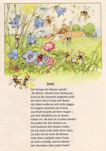 """Fritz Baumgarten (German, 1883-1966), illustrator. Juni. From """"Von den wunderlichen Leuten und den vier Jahreszeiten,"""" 1958."""
