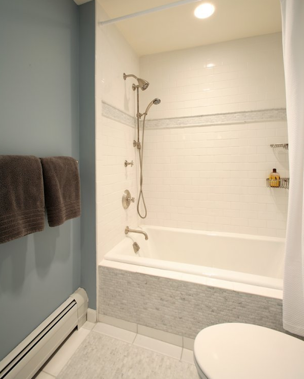 love the tile outside the tub and the stripe around the shower bath ideasshower