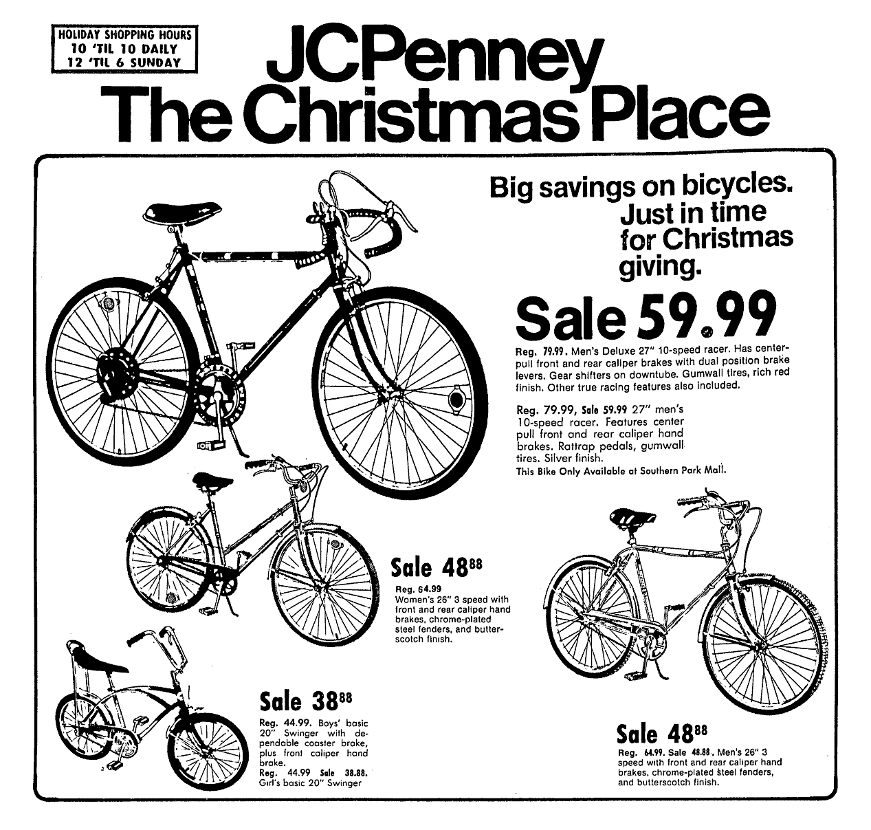 Jcpenney Bicycles November 1974 Christmas Place Christmas Place Bicycle Jcpenney
