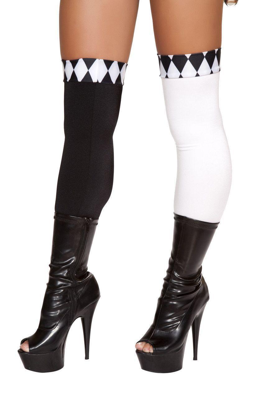 9f02f49c563 Sexy Roma Black White Mismatched Clown Joker Sexy Jester Harlequin Harley  Quinn Thigh Highs Stockings Halloween Costume Accessory