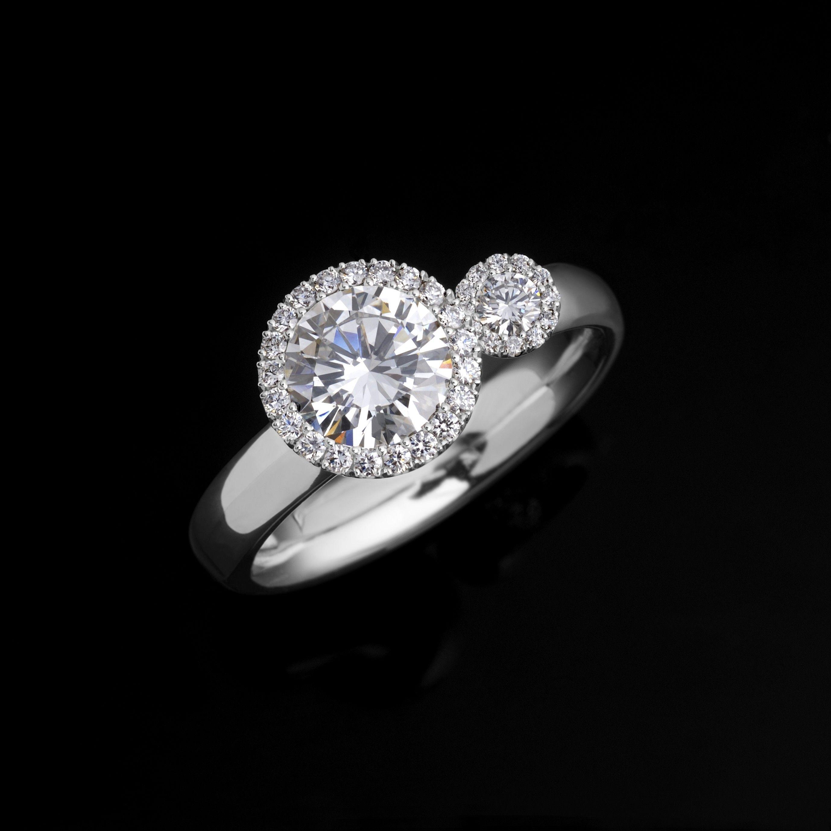 Andrew Geoghegan Platinum Diamond Satellite Bridal Ring