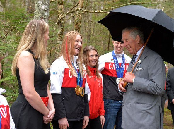 Prince Charles, Prince of Wales smiles as he meets Canadian Olympic athletes in Bonshaw Park on Prince Edward island on May 20, 2014