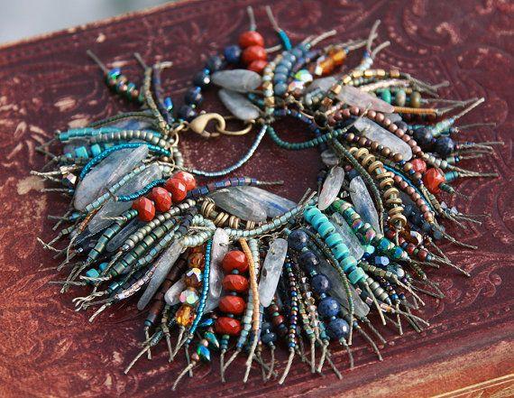 Eclectic Bohemian Fringe Kyanite Bracelet. by rocksnbeads on Etsy, $245.00