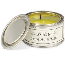 Jasmine & Lemon Balm £3.95  Jasmine & Lemon Balm candle has cooling top notes of lemon balm and bergamot lead onto a heart of jasmine and white blossom, with hints of green leaves and powdery ambers at the base. Handmade in the UK Diameter: 76mm Height: 40mm Burn time: Up to 14 hours