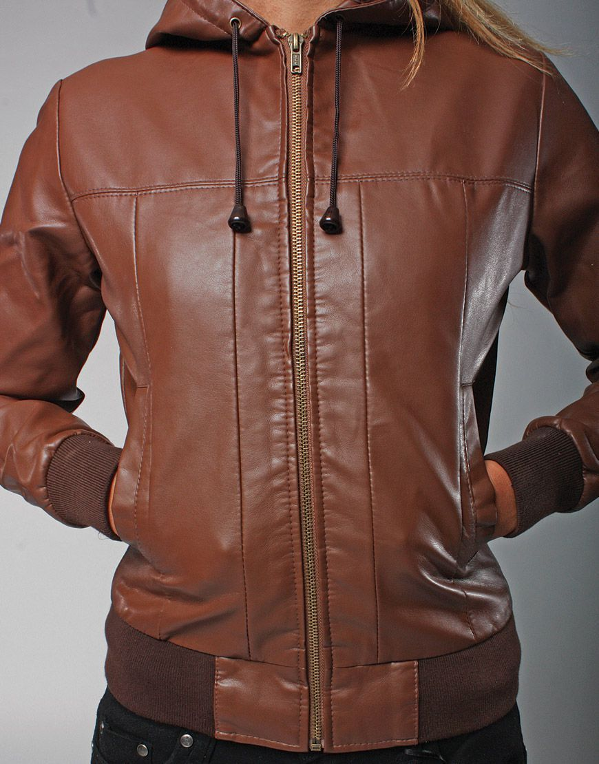 Women S Vintage Brown Faux Hooded Leather Bomber Jacket Leather Bomber Jackets Leather Bomber Jacket [ 1110 x 870 Pixel ]