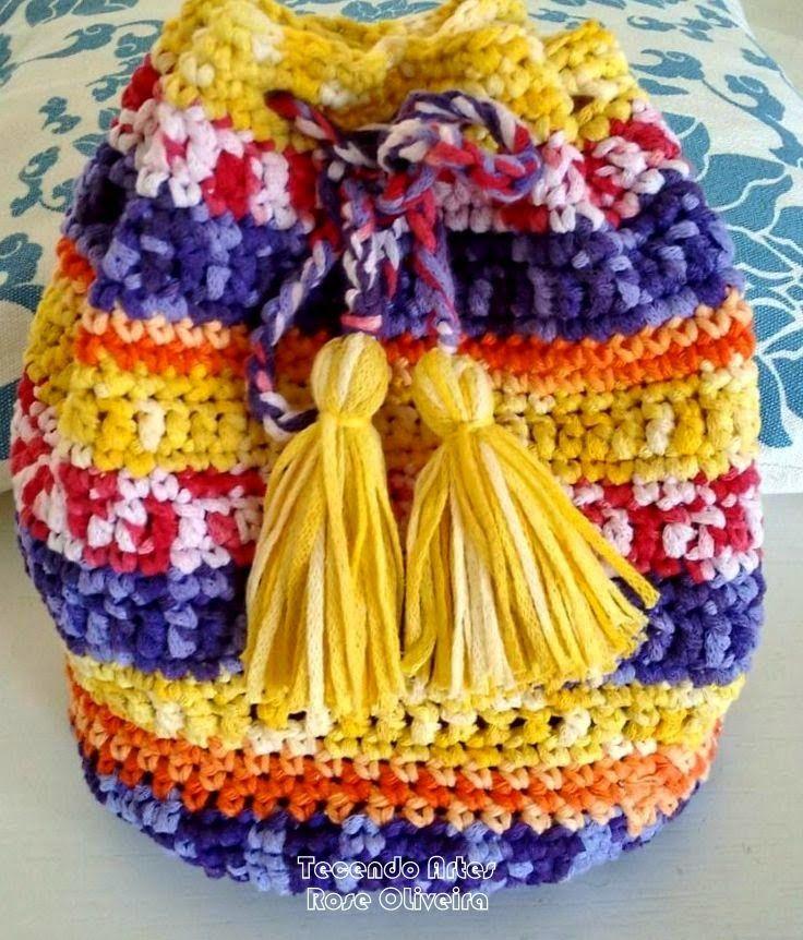Tecendo Artes em Crochet: Bolsa Wayuu - Gráficos | Croche wayuu ...