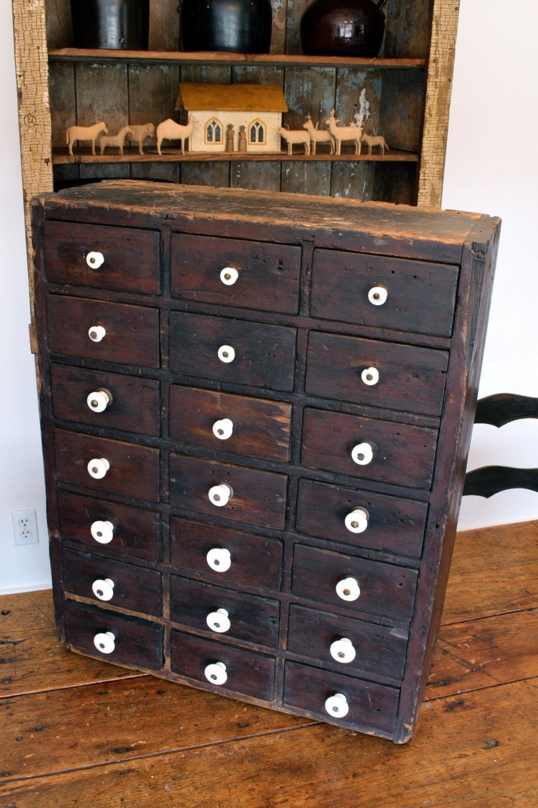 Rare aafa early antique 21 drawer apothecary cabinet