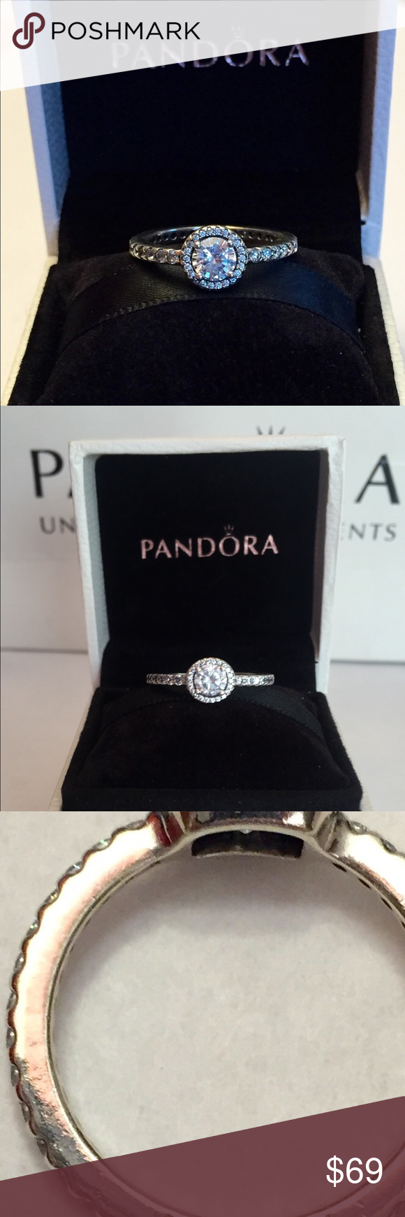 6ea4a7474 Authentic Pandora Classic Elegance Ring size 7-54 Sterling Silver with  Cz's. Hallmark Stamp S 925 ALE. Size 7-54..The Pandora Hinged Box is  included.
