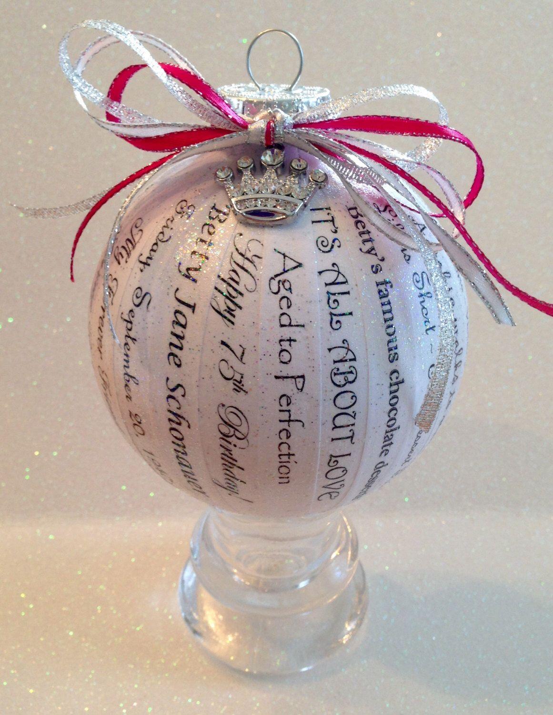 75th birthday gift unique personalized memory ornament