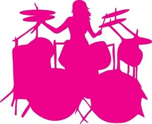Drums Clipart Image - Female Drummer in a Rock Band ...