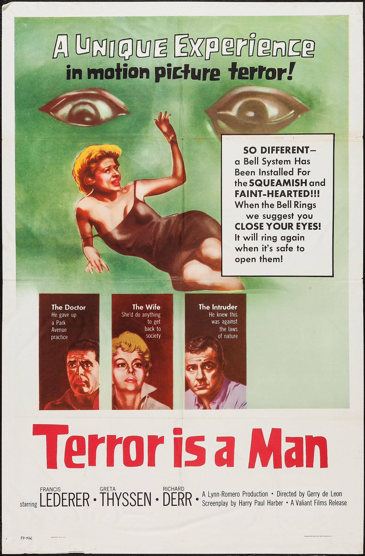 Cult Horror movie poster print 1959 Terror Is a Man