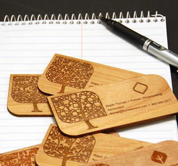 creative wooden business cards