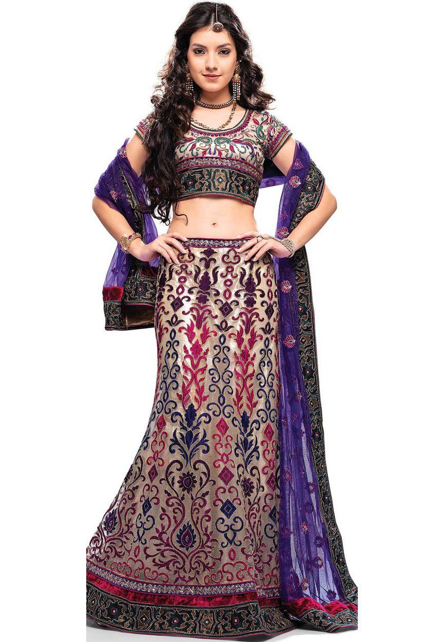 Light Fawn Net Fishtail Lehenga Choli With Dupatta Online Shopping: LDW291