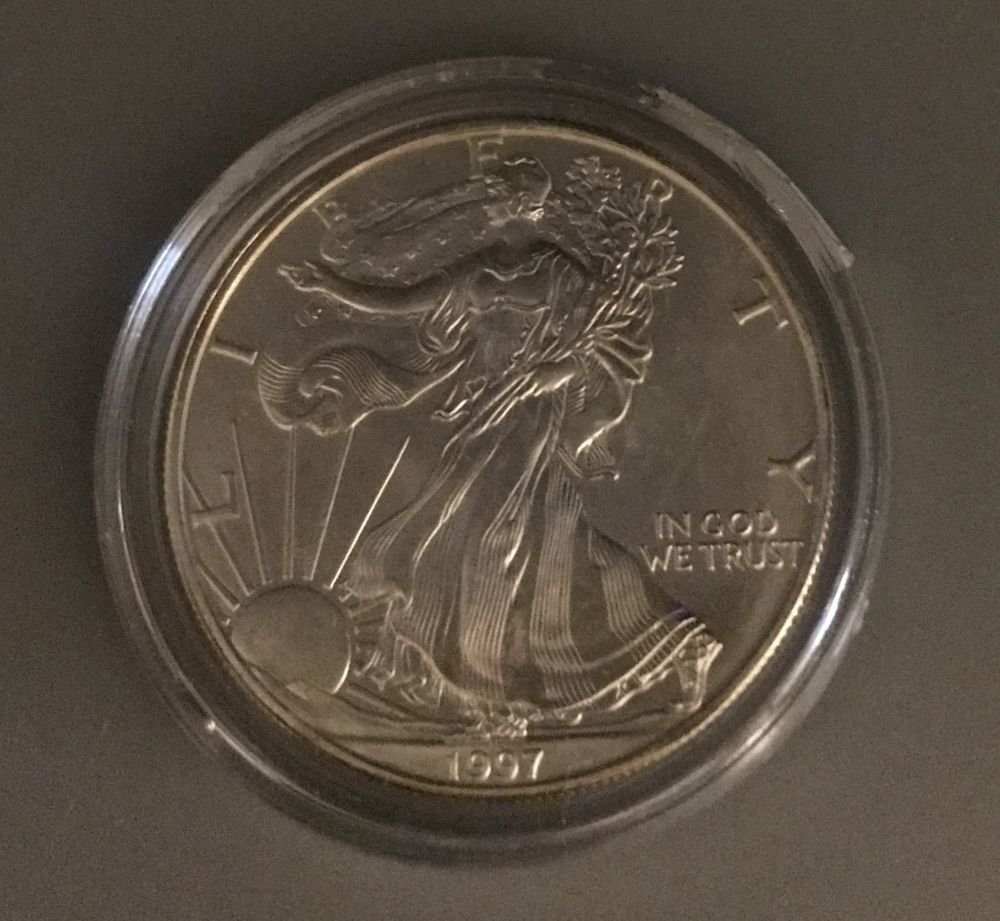1 Oz Fine Silver Walking Liberty 1997 One Dollar Coin United States Dollar Coin Silver Dollar Coin Coins
