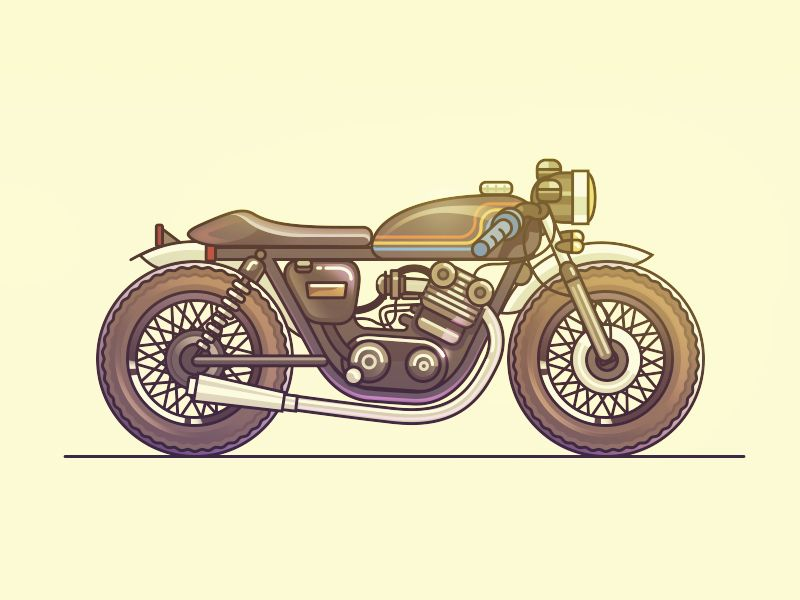 Cafe Racer Bike Illustration Retro Bike Art Bike Art