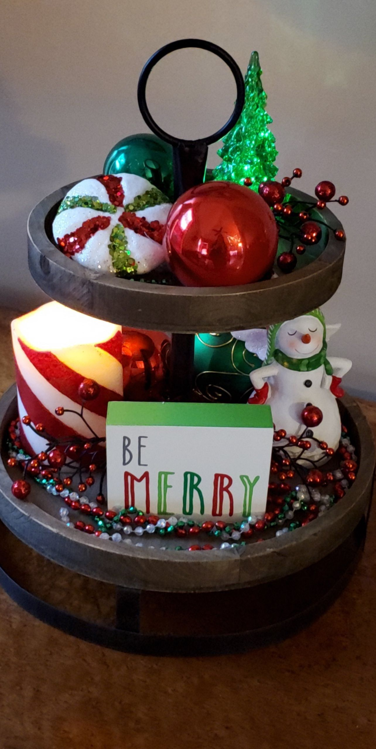 Christmas decor tiered tray hobby lobby bright