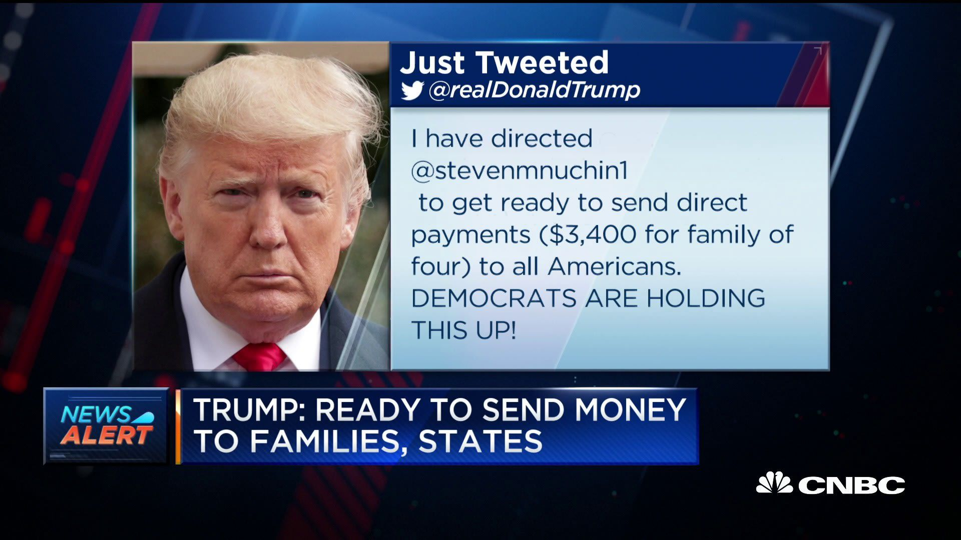 Trump Says He Has Directed Mnuchin To Get Ready To Send Direct Payments To Families States In 2020 Steven Mnuchin Trump How To Get