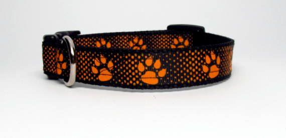 Orange and Black Paw Print  Small or Medium by KibblesandCollars, $7.99