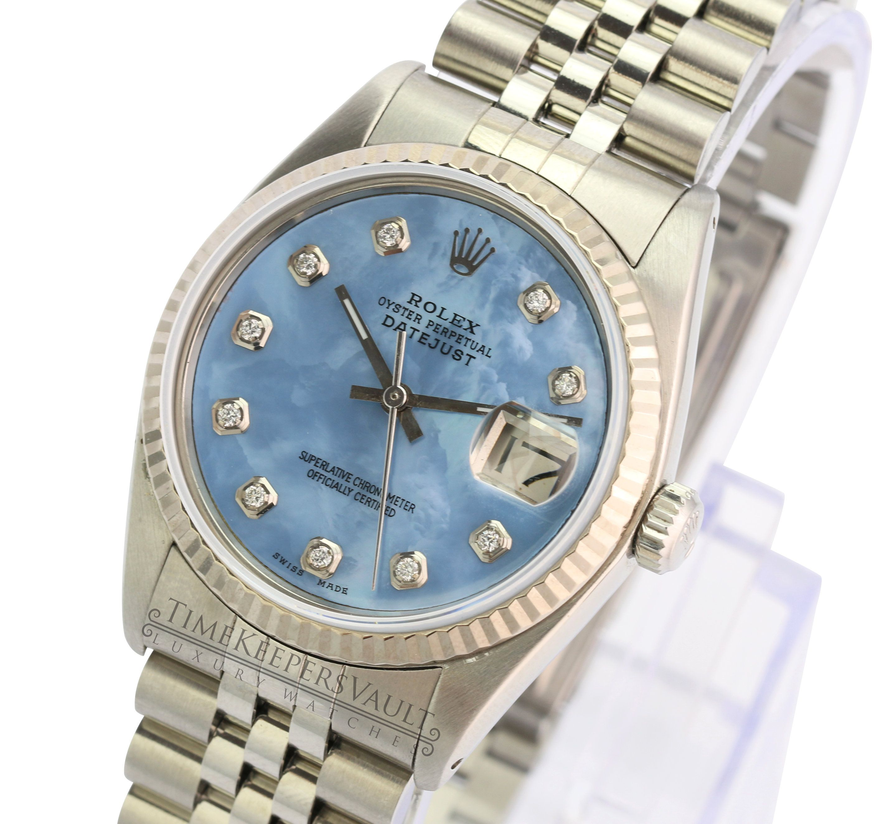 Rolex Datejust Unisex 16234 Stainless steel Blue MOP Dial Engine Turned Jubilee Band 36mm-Quickset #stainlesssteelrolex
