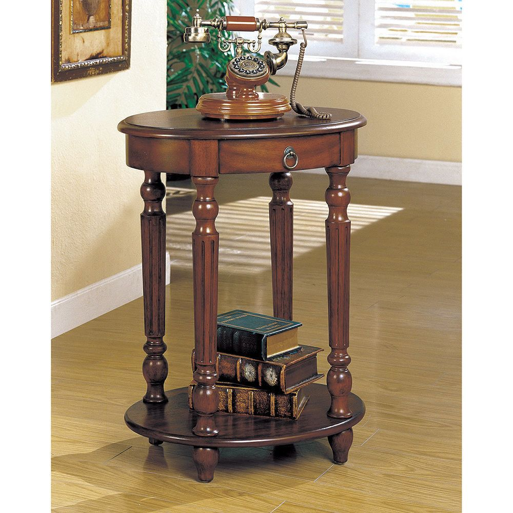 Best Solid Brown Cherry Wood Round End Table Living Room Side 400 x 300