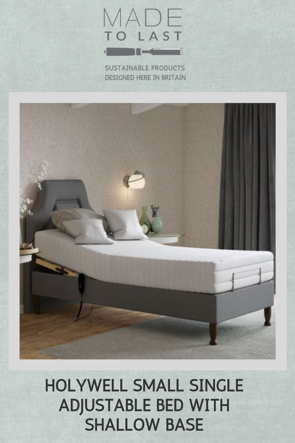 Holywell Small Single Adjustable Bed with Shallow Base in