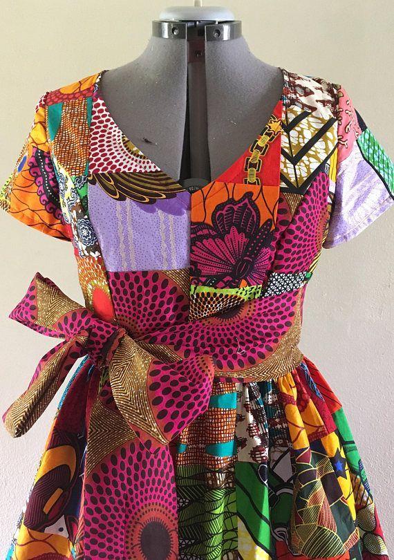 African Wax Print Genuine Patchwork Midi Dress With Pockets. dutch ...