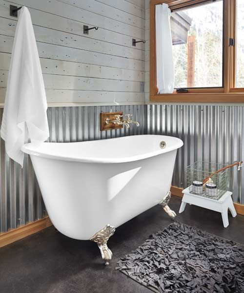 Barn Bathroom, Rustic Bathrooms, Corrugated Metal