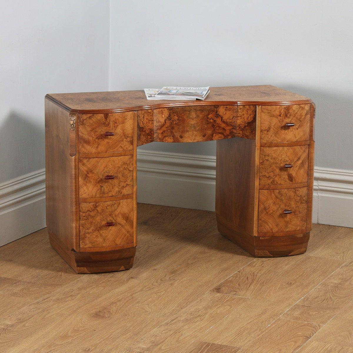 Antique english art deco burr walnut serpentine office desk circa 1930
