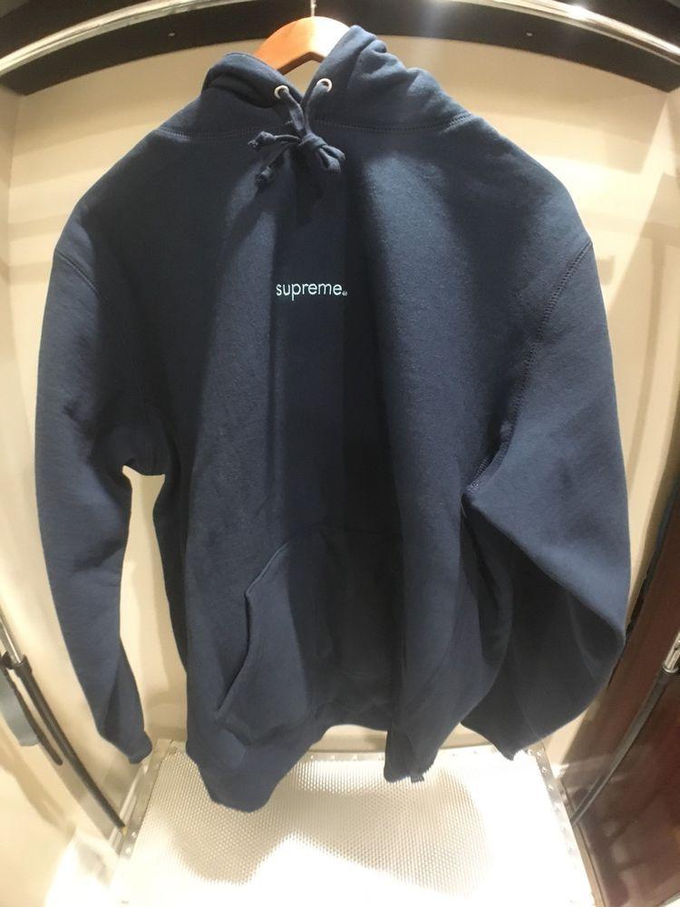 7aee67b397c Supreme F W 18 Trademark Hooded Sweatshirt Navy Medium 100% Authentic   fashion  clothing  shoes  accessories  mensclothing  activewear (ebay link)