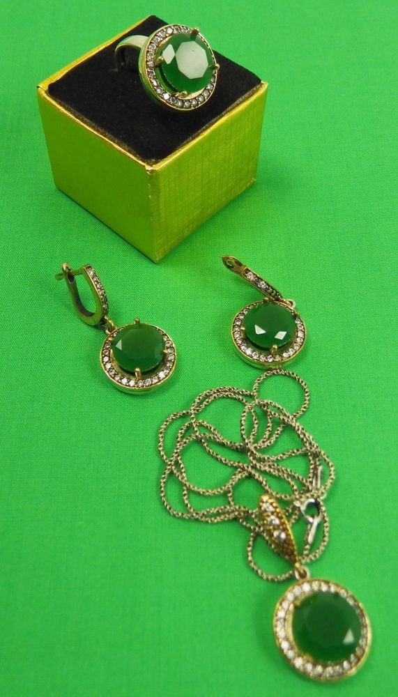 925 Silver Green Jade and Clear Zircons Earring, Necklace and Ring Set #Handmade
