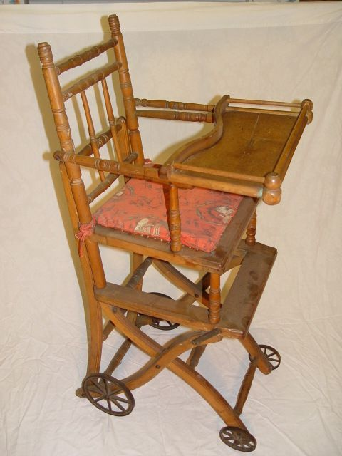 Antique convertible baby stroller- high chair with markings on the tray PAT  JUNE 22 1875 - Antique Convertible Baby Stroller- High Chair With Markings On The