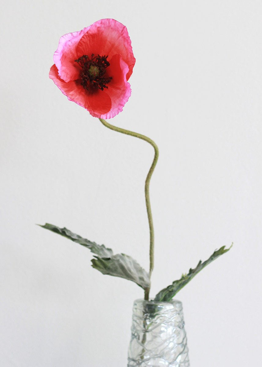 Silk poppy in hot pink red 29 silk flowers and supplies coral red poppy stem trending silk flowers afloral mightylinksfo