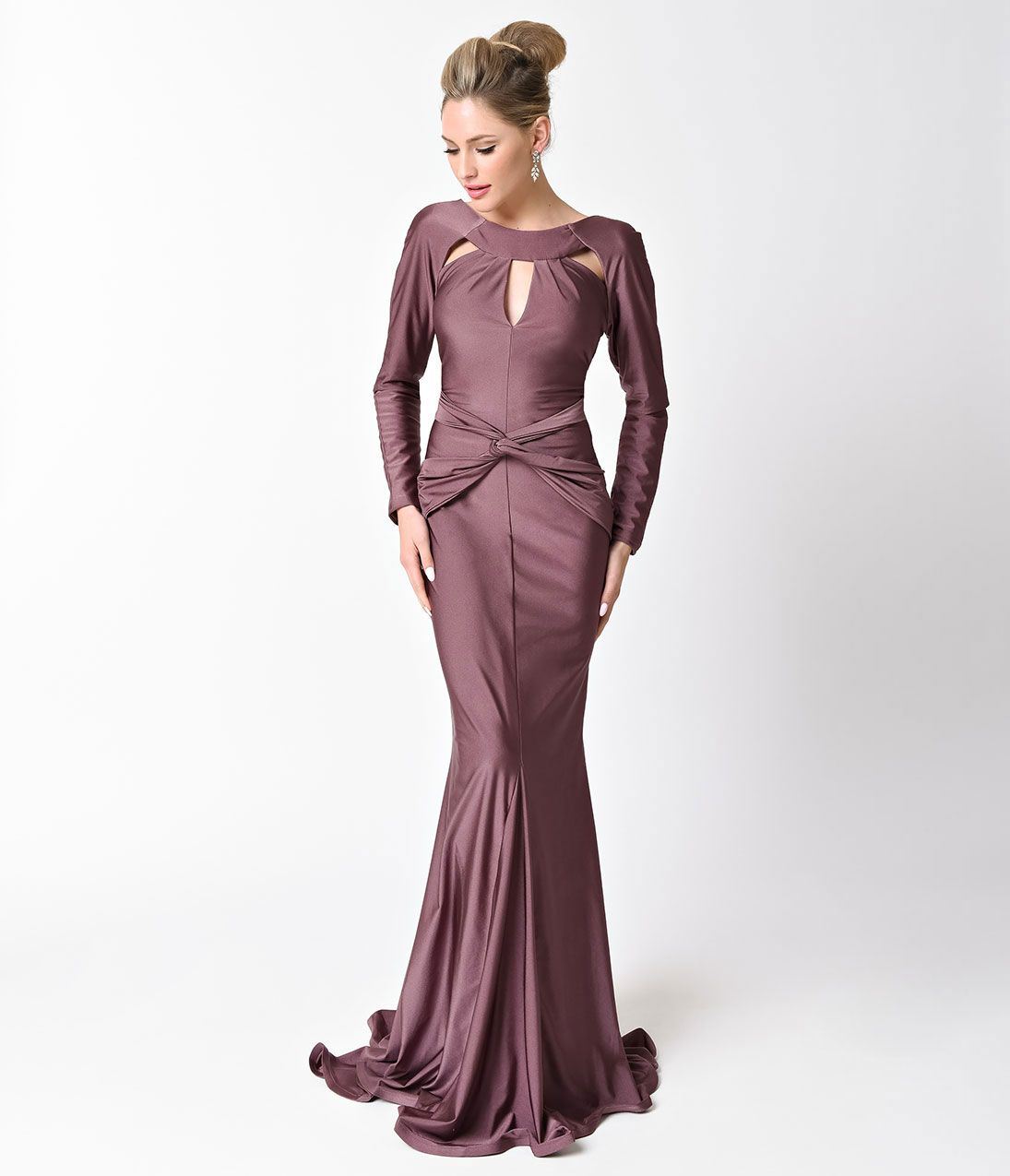 c4a59998732 1930s Style Fashion Dresses May Queen Mauve Long Sleeve Low Back Long Dress  For Prom 2017 Size 16  153.00 AT vintagedancer.com