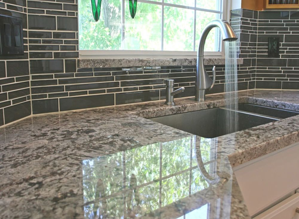 Kitchen Backsplash Glass Tile Is Wrapped Around The Corner Of The