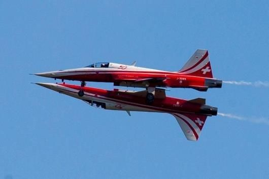 Northrop F-5E Tiger II aircraft of the Swiss Air Force perform during the opening of the ILA Berlin Air Show in Selchow near Schoenefeld south of Berlin, May 20, 2014