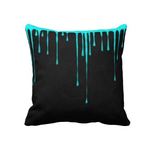 Teal Paint Drip on Black American MoJo Pillow