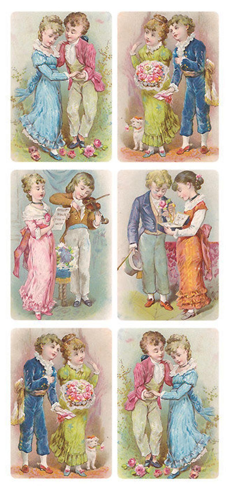 3 Sheets Self Adhesive Victorian Victorian Children ...