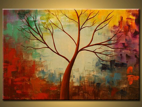 Original painting,birch tree Abstract tree painting,painting on ...