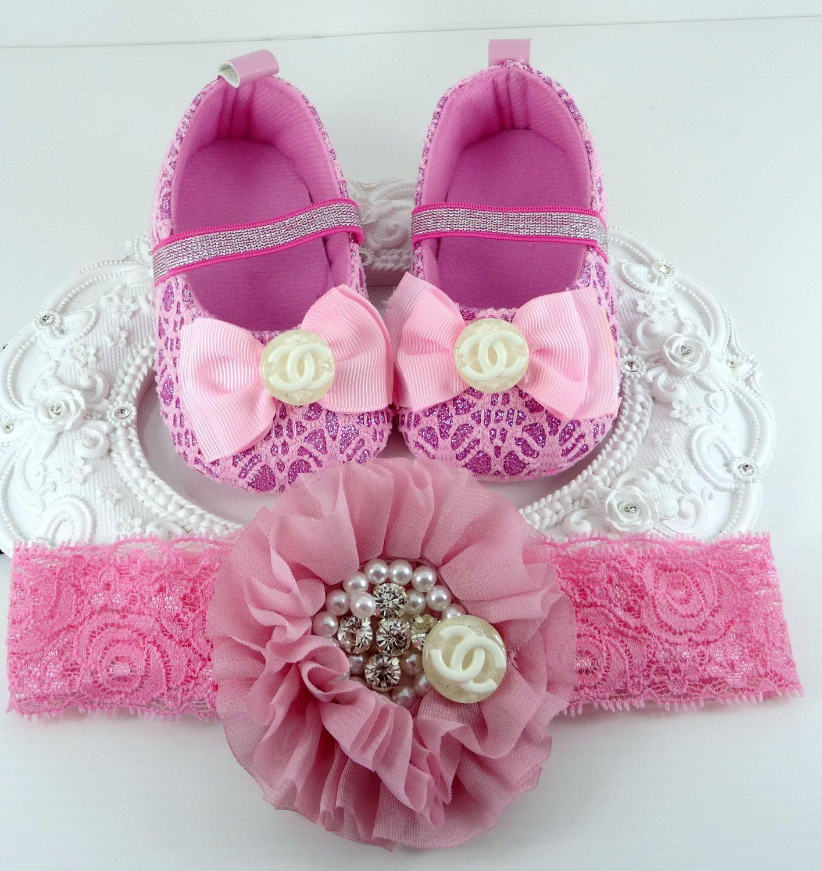 Baby Girl Crib Shoes and Headband Set Newborn Baby Girl Shoes Baby