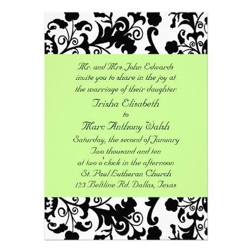green and black wedding | Elegant Black, White, and Green Wedding Invitation | Zazzle.co.uk
