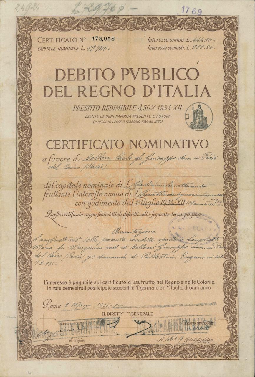 DEBITO PUBBL. DEL REGNO D' ITALIA - PRESTITO REDIM. 3,50% - 1934 - CERT. NOMINATIVI - #scripomarket #scriposigns #scripofilia #scripophily #finanza #finance #collezionismo #collectibles #arte #art #scripoart #scripoarte #borsa #stock #azioni #bonds #obbligazioni