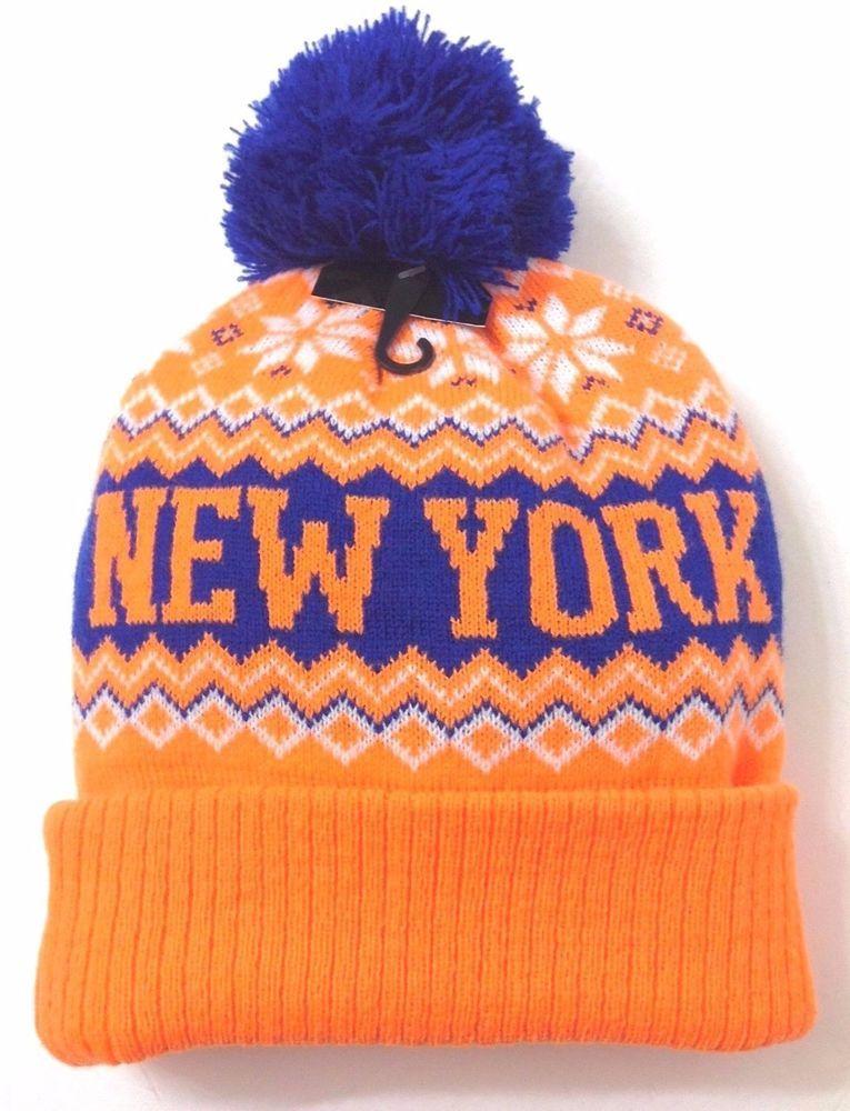6c252e86489 NEW YORK POM BEANIE Mets Knicks-Colors NEON ORANGE Winter Knit Ski Hat Men Women   KBTrading  Beanie