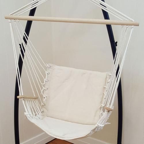 Beautiful Beige Padded Hammock Chair With Wooden Arm Rests With Stand   Heavenly  Hammocks