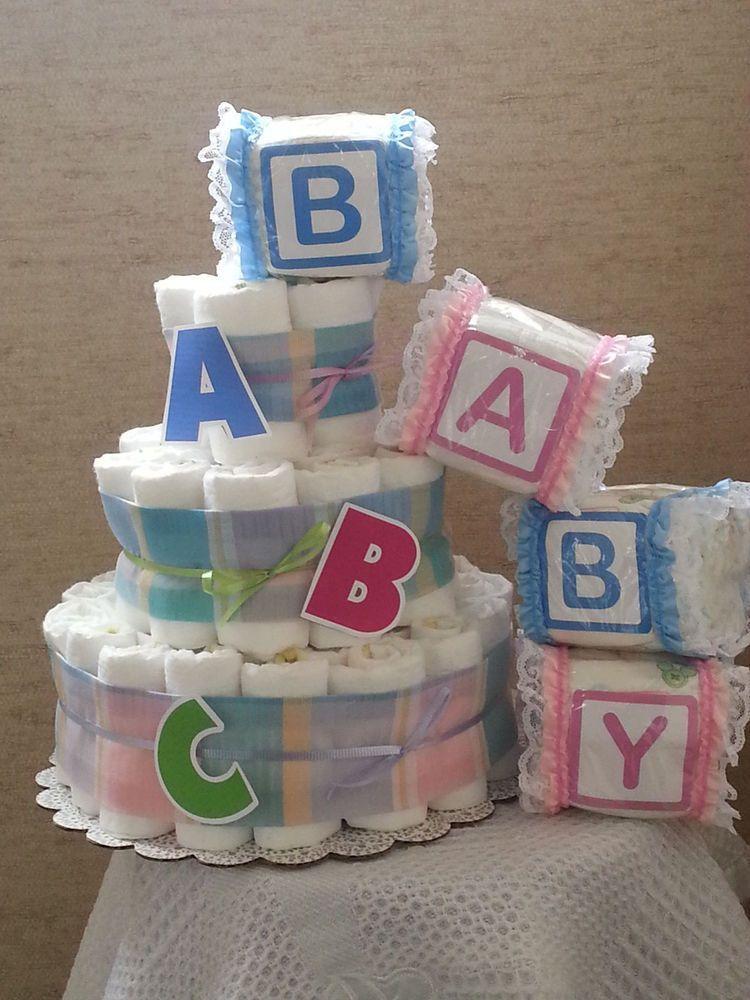 three Tier Diaper Cake ABC Alphabet Child Bathe Present Centerpiece  | eBay 2020 #ABC #Alphabet #BABY #Cake